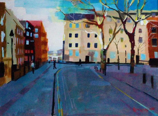 Original painting of a street corner in Bristol