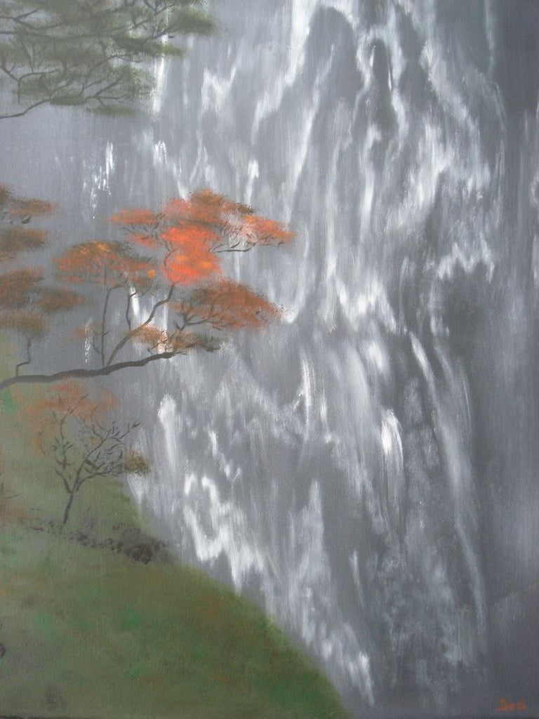 Painting of a grey waterfall with a beautiful orange tree in the foreground