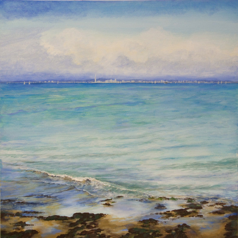 Original painting of a beautiful view looking across the sea from the beach