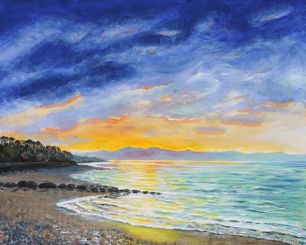 Original painting of a stunning sea from the beach as the sun sets