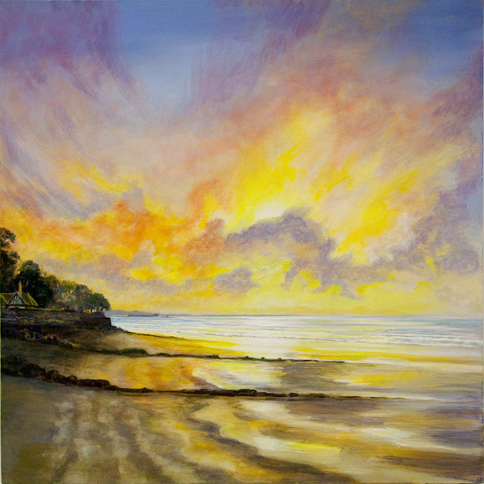 Original painting of a stunning sunset towards Ryde from the beach