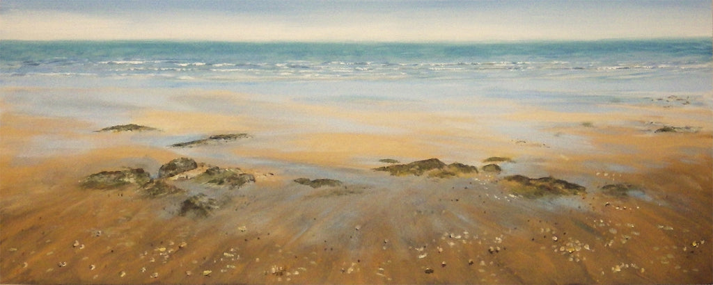 Beautiful original panoramic painting of the sea from a sandy beach