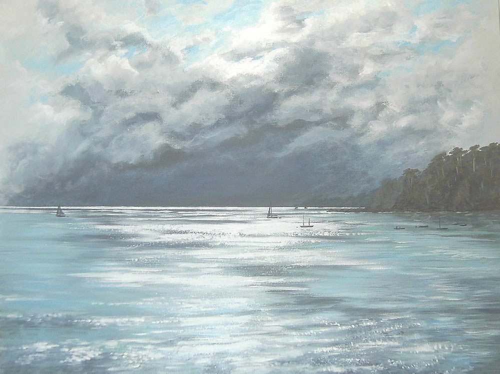 Dramatic seascape painting of the sea as the sun shines through the clouds
