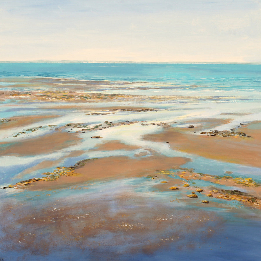 Stunning original seascape painting of a beach as the tide rolls out