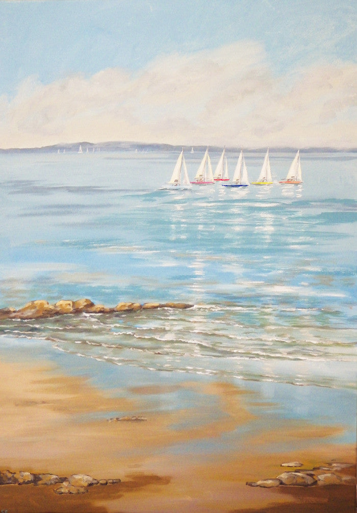 Original acrylic painting of a boat race with the sails reflecting on the clear water