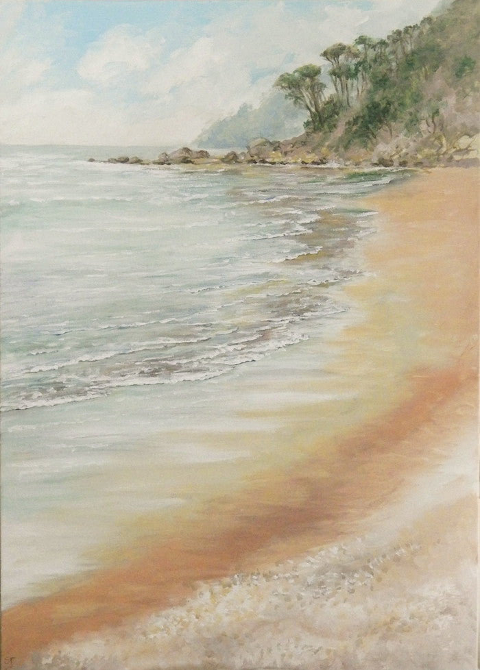 Romantic painting of a sandy beach with a sea view