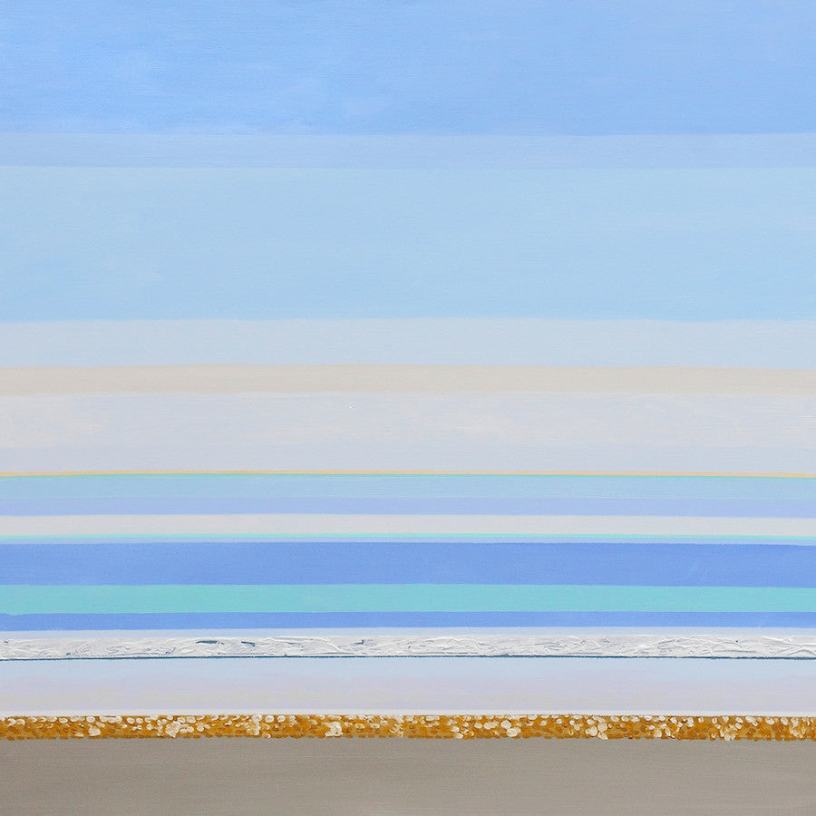 Beautiful abstract painting showing the horizontal lines of colour out at sea