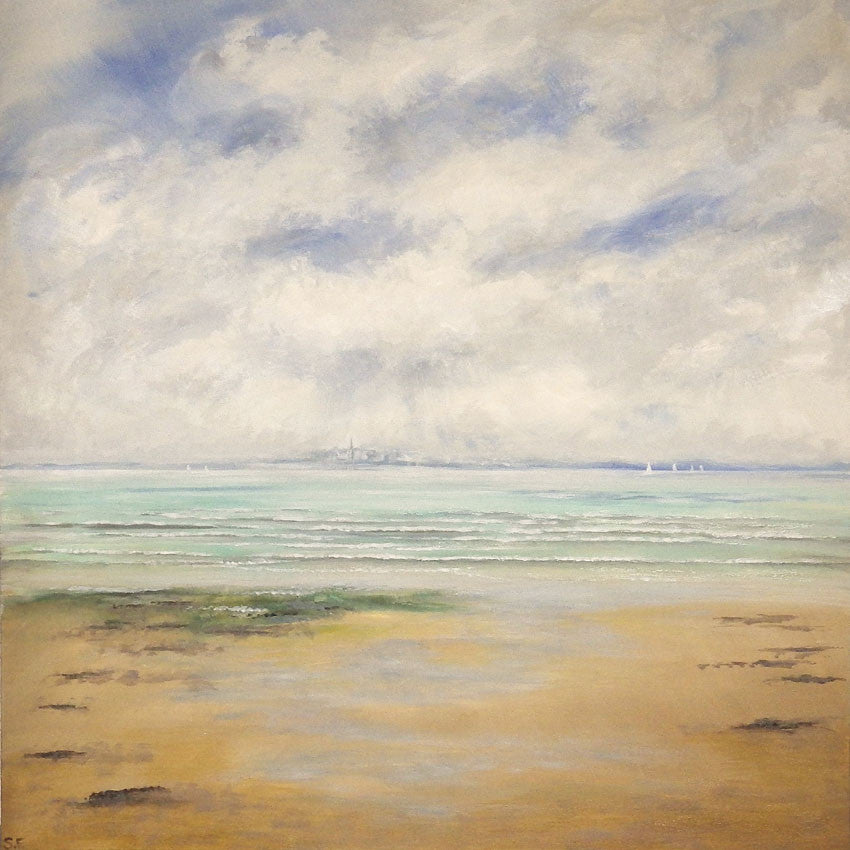 Colourful acrylic painting of solent Beach on a cloudy day