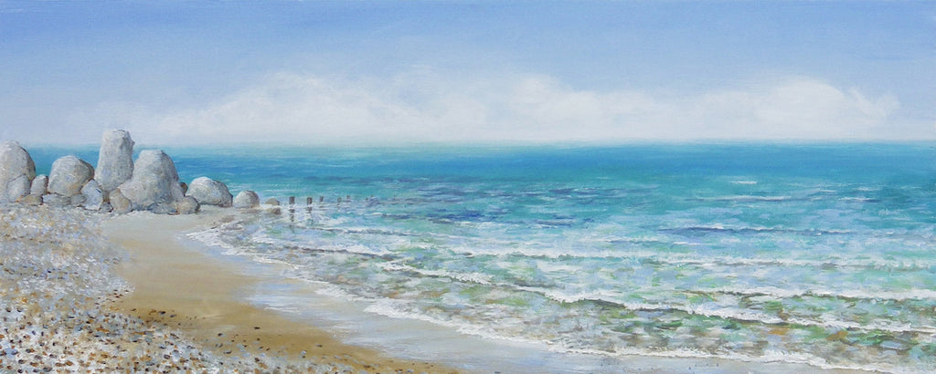 Stunning original painting of the sea mist rolling into the beach