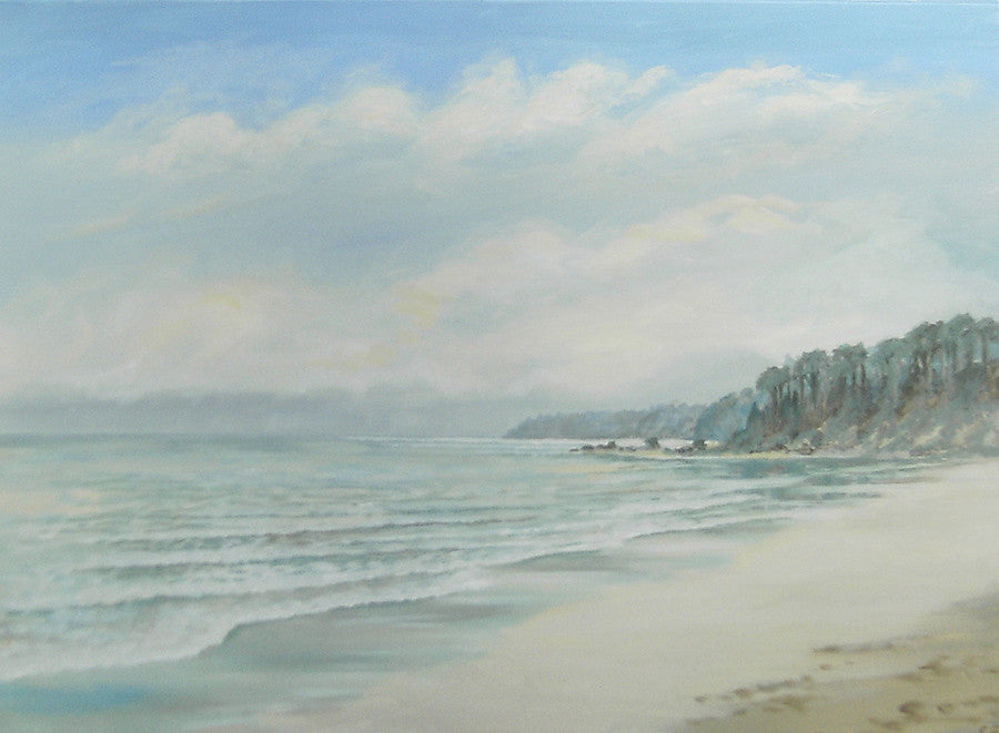 Original painting of a tranquil beach in the winter months