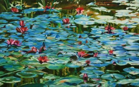 Painting of Waterlillies with red flowers
