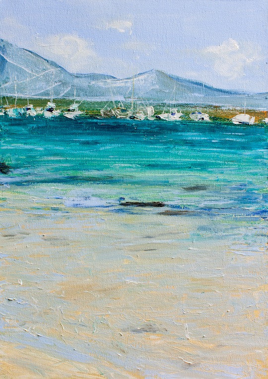 Acrylic painting of expensive yachts in the mediterranean Sea at Fuertaventura