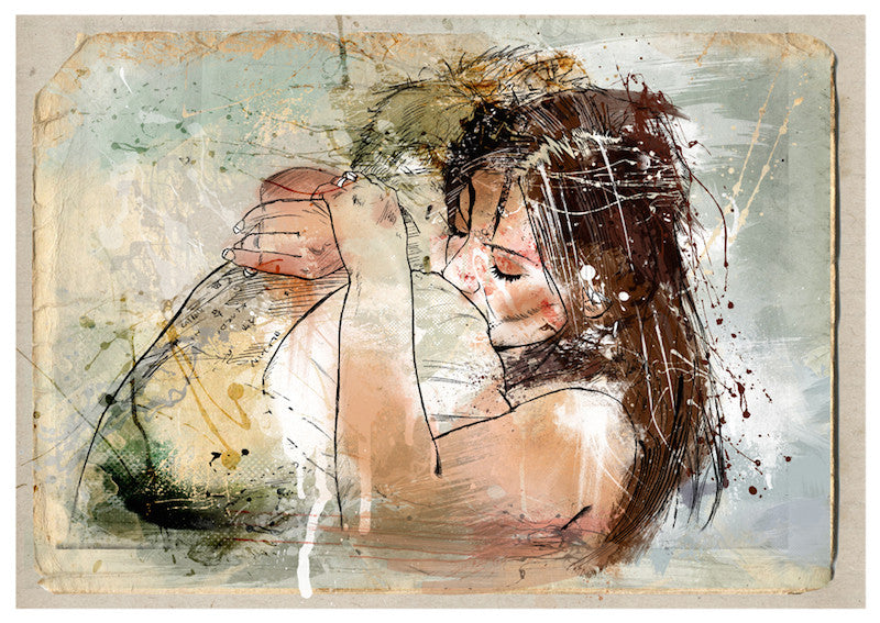 Beautiful digital art of a young couple embracing each others arms