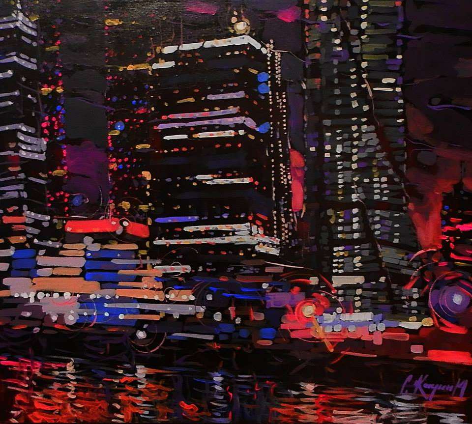 Original acrylic painting of a very busy city at night with all the lights on