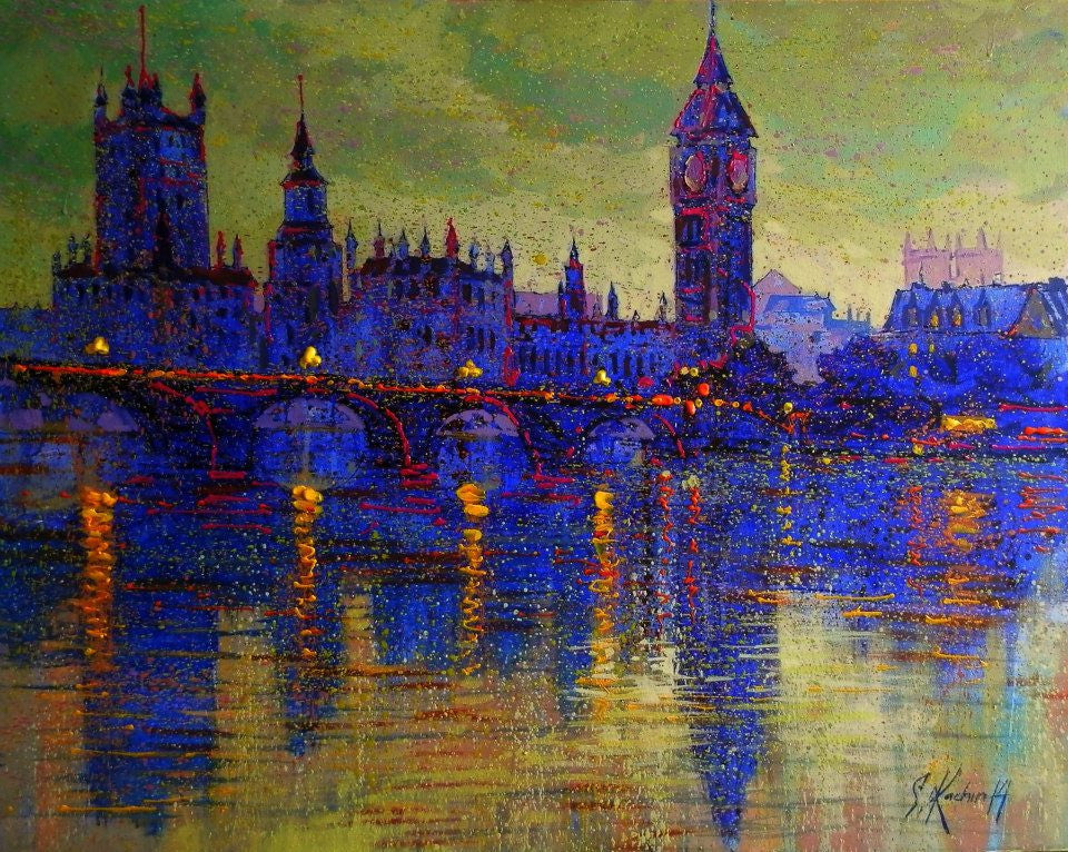 Beautiful acrylic painting of London and Big Ben looking over The Thames
