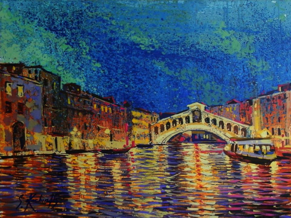 Original painting looking down the Grand Canal in Venice at night