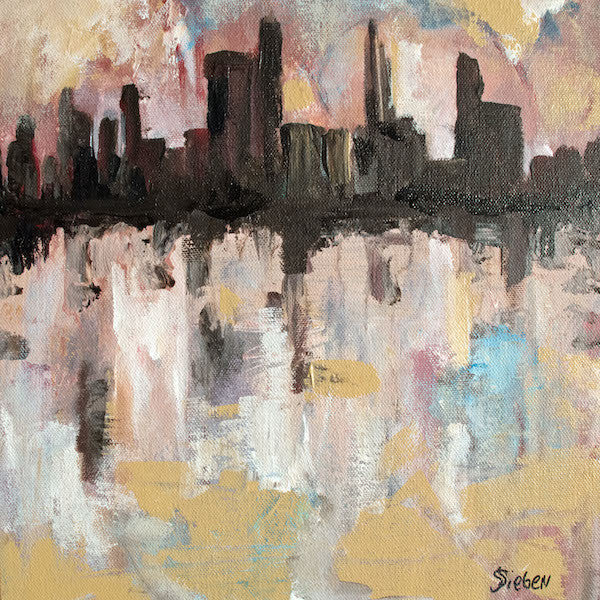 Original acrylic painting of an imaginary city reflecting of the water