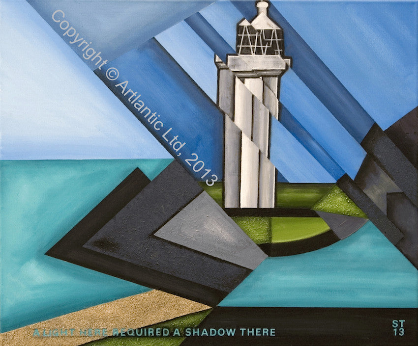 Cubist painting of a lighthouse looking to the sea on a calm day