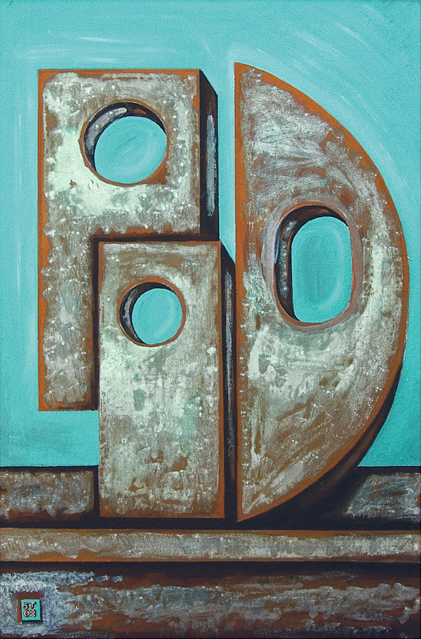 Original abstract painting in blue and grey inspired by sculptor Barbara Hepworth