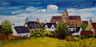 Lovely painting of an Abbey and cottages on the island of Iona