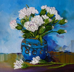 Oil still life painting of white flowers in a blue vase