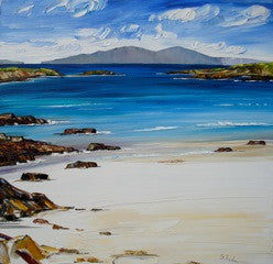 Original oil painting of a sandy beach looking over the Isle of Iona