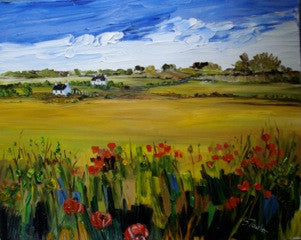 Beautiful landscape painting showing wild poppies in Fife Scotland