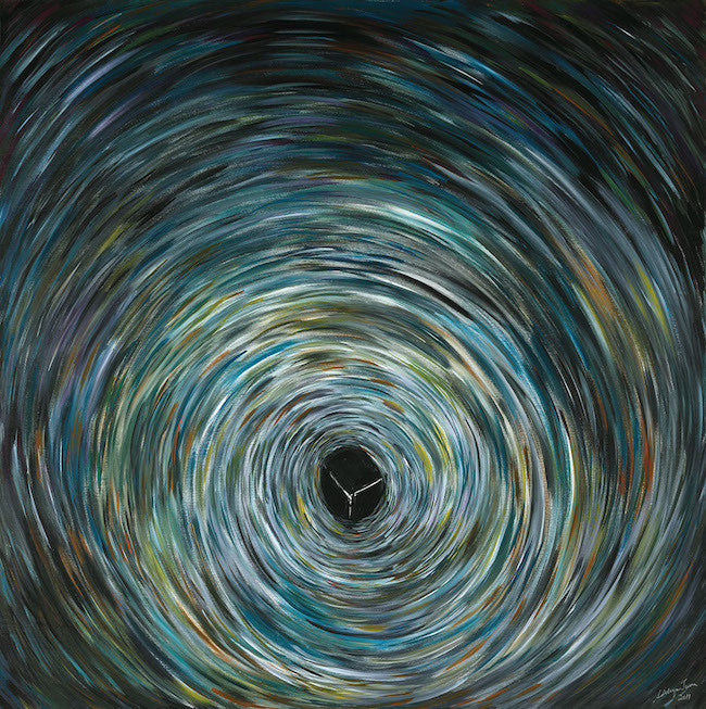 Original abstract painting looking into a black hole in green and blue