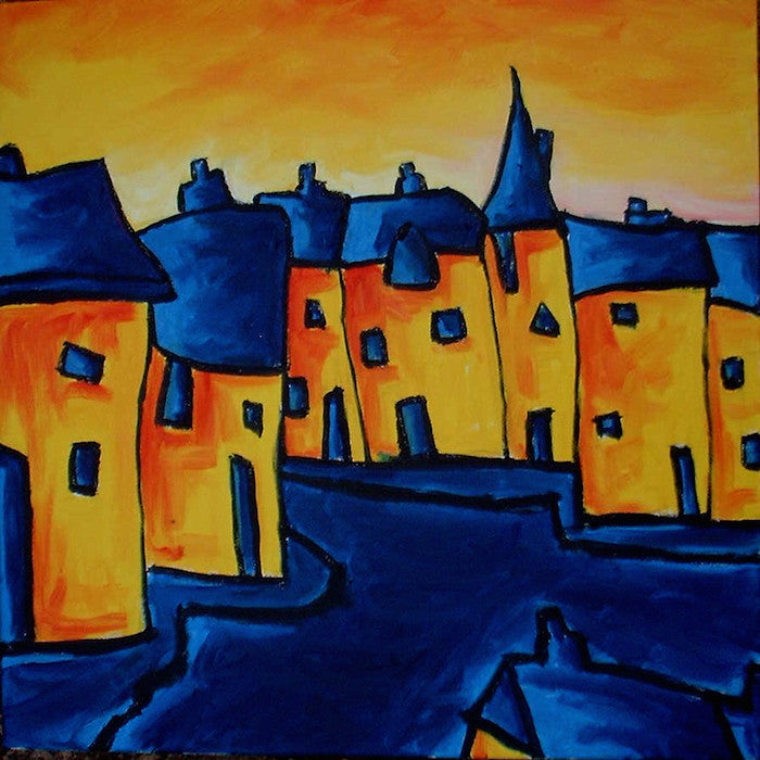 Original blue and orange oil painting of a village street
