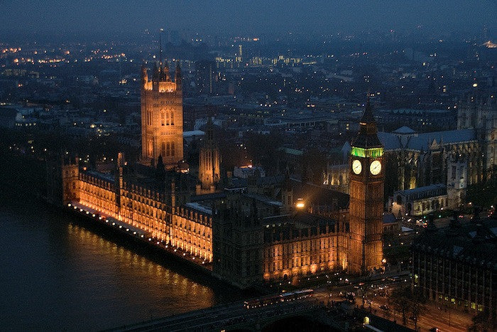 Areal photograph of The houses of Parliament at night