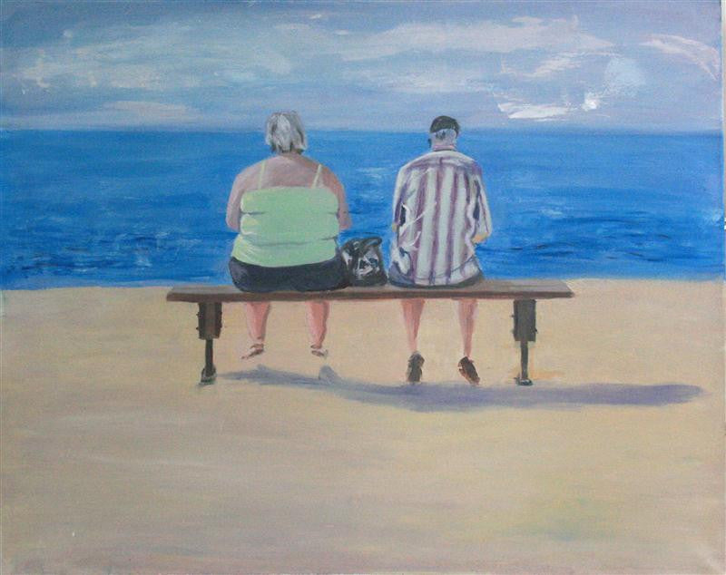 Original painting of a fat woman and a skinny man sitting on the beach
