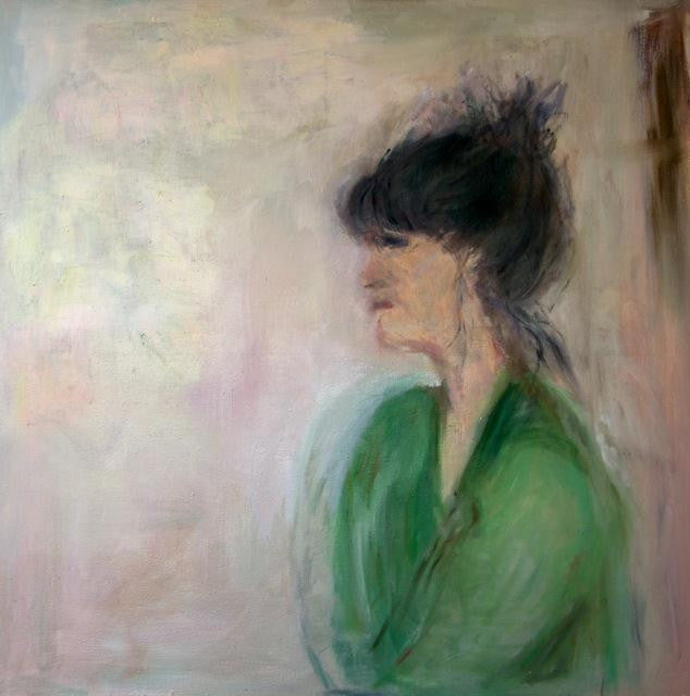 Original oil painting of a portrait of a young lady dressed in green from Normandy