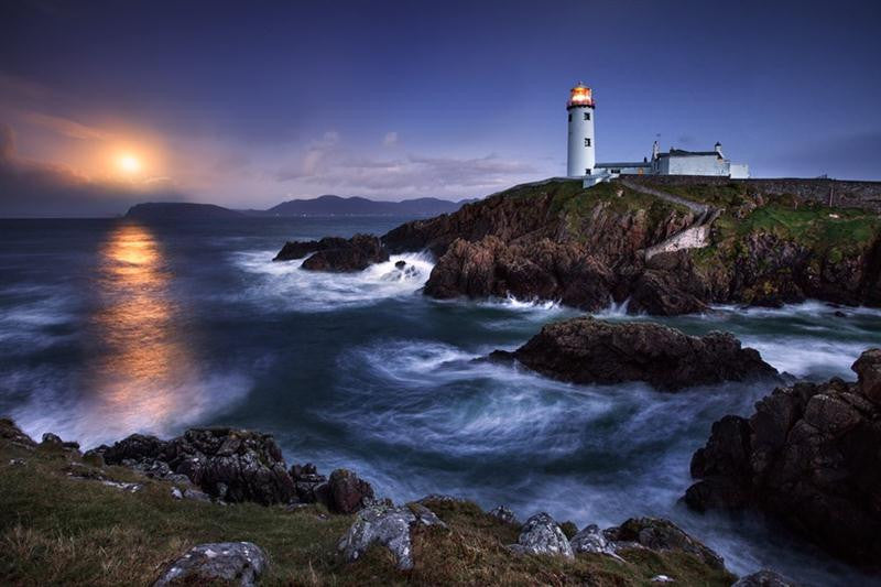 Moon light on Fanad lighthouse