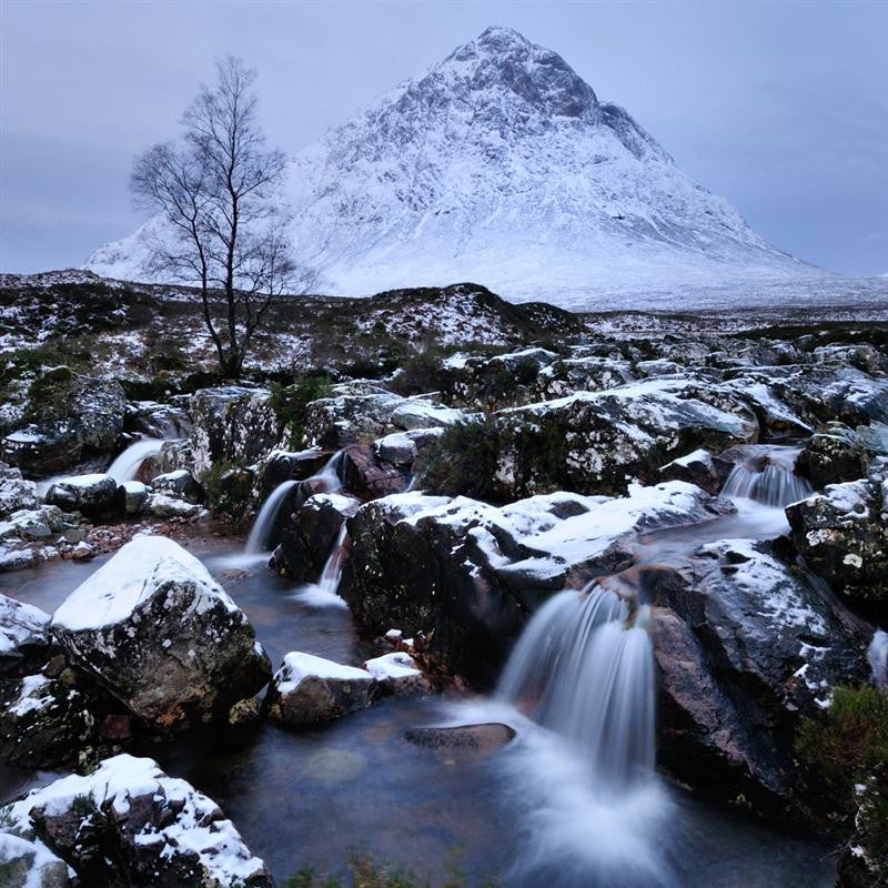 Beautiful long exposure photograph of Mount Etive in Glencoe Scotland