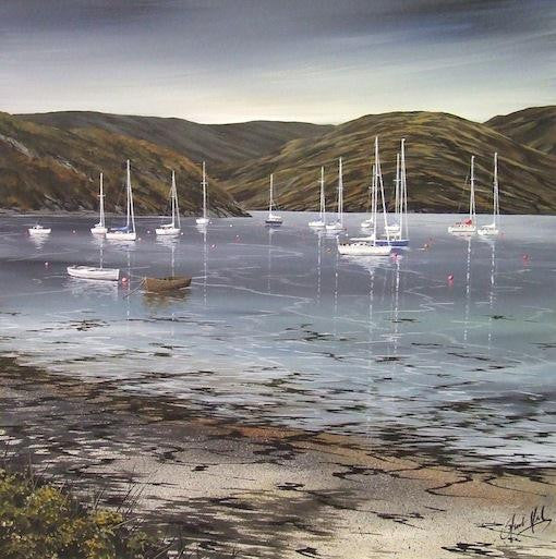 Original painting of yachts sitting in the sun on a Scottish loch with beautiful scenery
