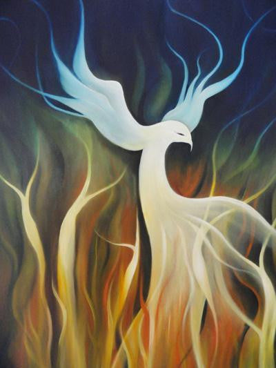 Surreal painting of a white pheonix coming out of the flames