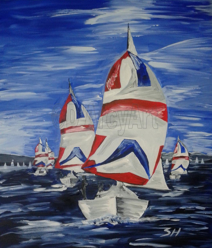 Original painting of a sailing race on choppy water