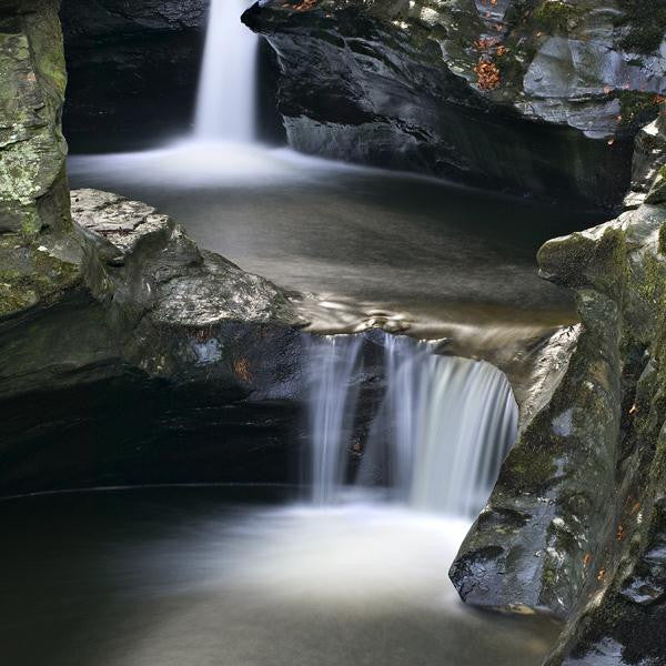 Long exposure photo of a stream running through rocks