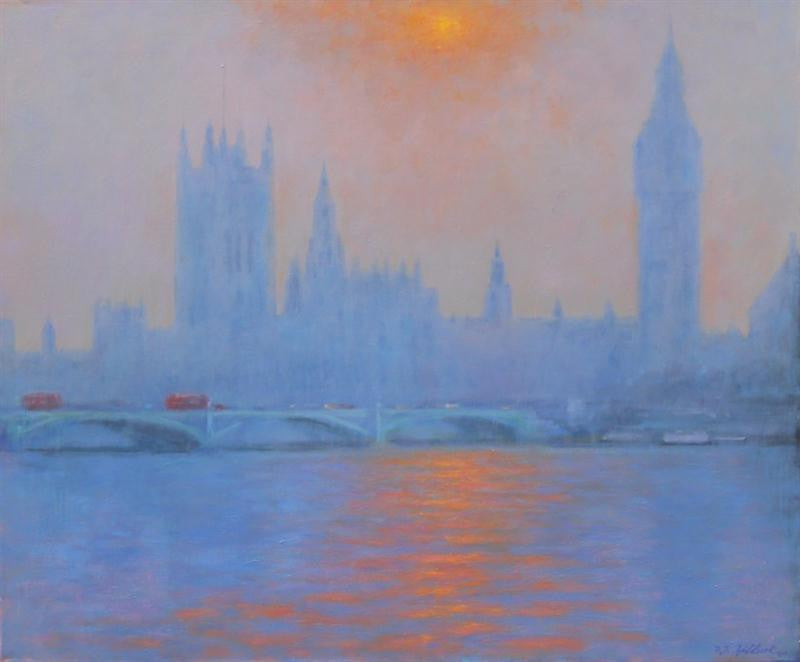 Oil painting of The houses of Parliament in the evening sun