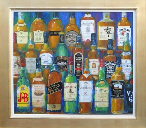Original oil painting of a bar shelf with many bottles of malt w