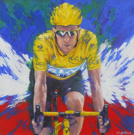 Original painting of Sir Bradley Wiggins in his yellow jersey winning the Tour de France