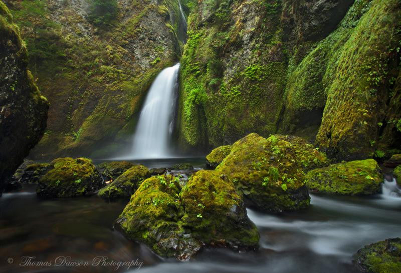 Long exposure photograph of a fast running waterfall in a green forest