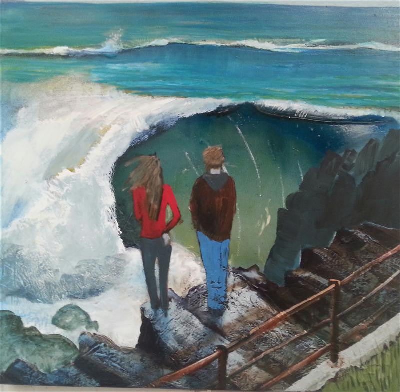 Original painting of a couple standing watching the wild sea from the harbour