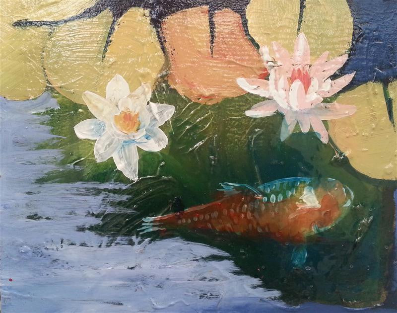 Original painting of two white waterlillies in full bloom