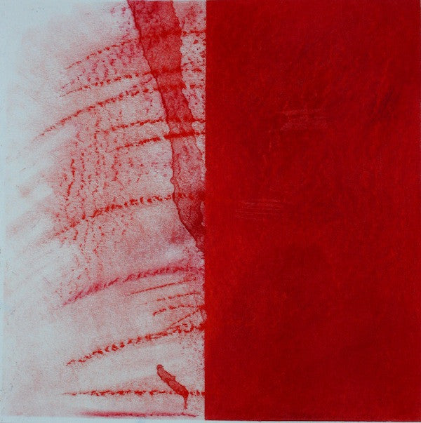 Red and white original abstract painting