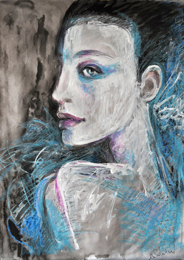 Impressionism original painting of a model in Blue