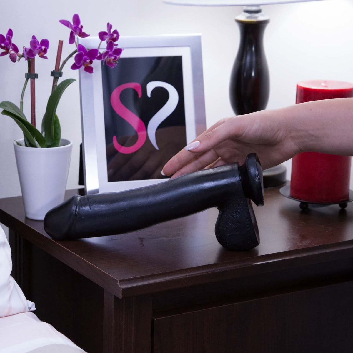 Basix 10 Inch Black Suction Cup Dildo