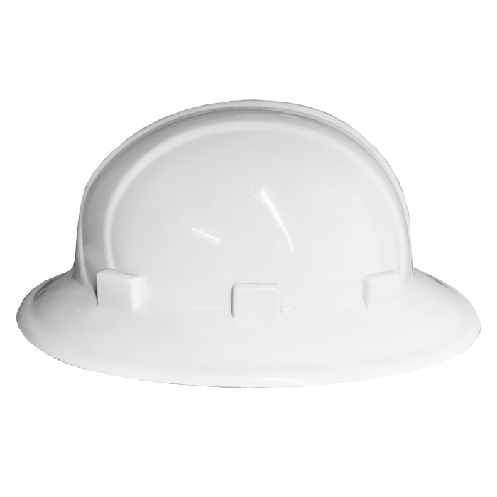 (White) Omega II Full Brim Hard Hat - 6-Point Ratchet Suspension - White