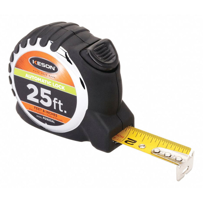 25' Steel SAE Tape Measure, Black/Chrome
