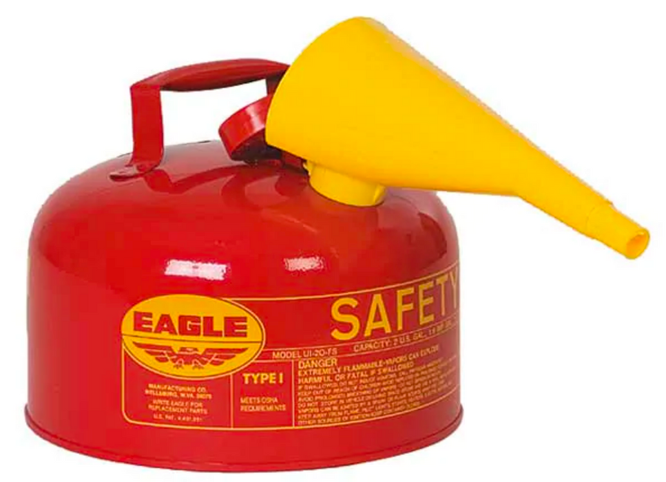 2 Gallon Red Safety Gas Can w/ Funnel